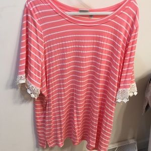 Pink top with white/off white stripes